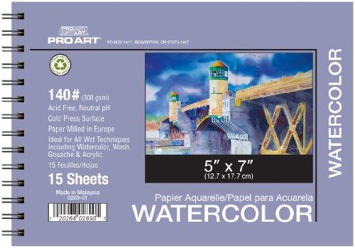Pro Art 5-Inch by 7-Inch Watercolor Paper Spiral Pad 140-Pou