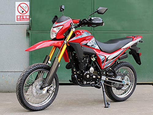 FAREAST DF250RTE Sports Style Motorcycle Dirt Bike 250cc with Street Tire (Red)