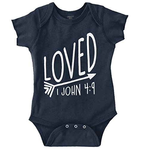 Loved 1 John 4 9 Christian Shirt Jesus Christ Religious Gift Romper Bodysuit