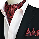 Mens Cravat Pocket Square Set Ascot Tie Self Paisley Woven