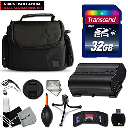 Nikon D7200 D7100 D750 D7000 D810 D800 D610 D610 Accessories KIT with 32GB High-Speed Memory Card, High-Capacity EN-EL15 / ENEL15 Battery, Well Padded Case, Memory Card Wallet Holder, 2 Screen Protectors, Mini Table Tripod, Lens Cap Keeper + Deluxe Cleaning Kit.