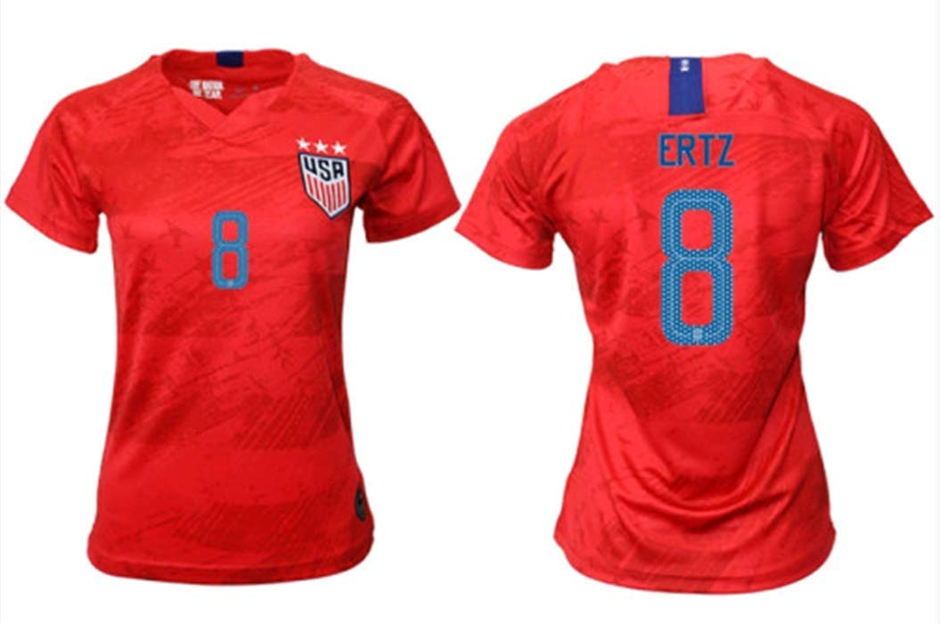 sports shoes 0083d ad357 ZZXYSY Julie Ertz #8 2019-2020 USA National Team Women's Away Soccer  Jersey/Short Colour Red
