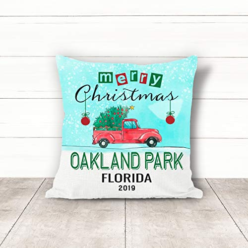 Christmas Pillow Covers 18 x 18 Inches Merry Christmas 2019 Oakland Park Florida FL Pillow Decorations for Xmas Autumn Pillow Covers Home Decor Design for Sofa Bedroom Car