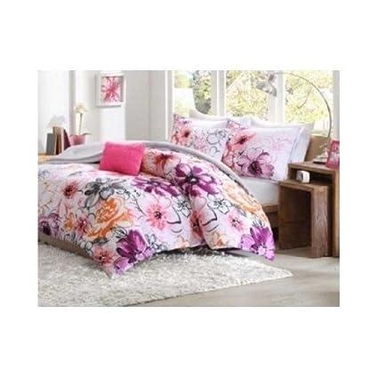Amazon comforter bed set teen kids girls orange pink purple comforter bed set teen kids girls orange pink purple white floral flowers fullqueen or mightylinksfo