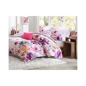 Amazon.com: Comforter Bed Set Teen Kids Girls Orange Pink ...