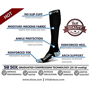 SB SOX Compression Socks (20-30mmHg) for Men & Women - BEST Socks for Running, Medical, Athletic, Varicose Veins, Travel, Pregnancy, Shin Splints, Nursing. (Black/Gray, X-Large)
