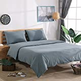NTCOCO Jersey Knit Cotton Duvet Cover Queen Home Bedding 3 Piece Set, 1 Comforter Cover and 2 Pillow,Soft Comfy (Bluish Gray, Queen)