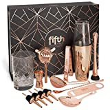 Copper Cocktail Shaker Set for Bar Kit, Stainless Steel & Glass - Complete 15 Piece Boston Bartending Mixology Kit with Tin Shakers, Strainers, Jigger, Muddler, and Accessories for Mixed Drinks