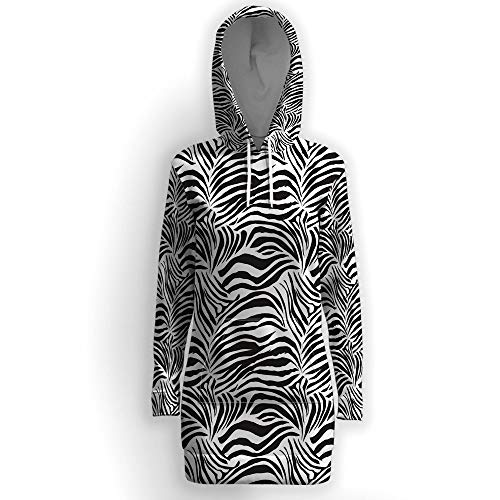 (Women Causal Hoodie Maxi Dress Solid, Zebra Print,Pullover Sweater Hoodie Tops S)