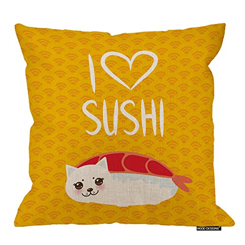 HGOD DESIGNS Sushi Pillow Case,Funny EBI Sushi and White Cute Cat Quote I Love Sushi Cotton Linen Polyester Decorative Home Decor Sofa Couch Desk Chair Bedroom 16x16inch -