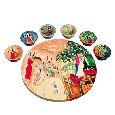 Biblical Figures Seder Plate vasp2 by Yair Emanuel by Yair Emanuel