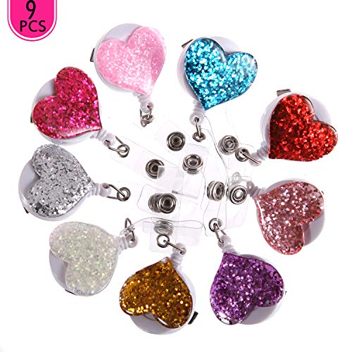 9PCS Pack Lovely Heart Design Bling Crystal ID/Name Badge Holder Cute Retractable 360° Swivel Alligator Rhinestone Neck Lanyard Badge Reel Clip(9xColors)