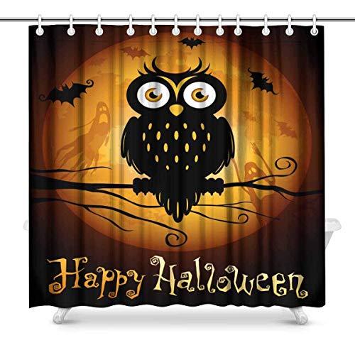 Cloud Dream Halloween Owl Silhouette on Moon Shower Curtain,Waterproof Polyester Fabric Bath Curtain Design,Extra Long 72x96-Inch
