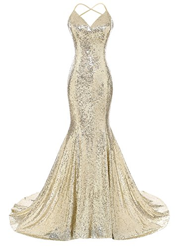 DYS Women's Sequins Mermaid Prom Dress Spaghetti Straps V Neck Backless Gowns Gold US 2 - Glamorous Long Gown