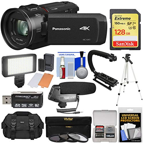 Panasonic HC-VX1 Wi-Fi 4K Ultra HD Video Camera Camcorder with 128GB Card + Case + 3 Filters + Tripod + Stabilizer + LED Light + Microphone + Kit