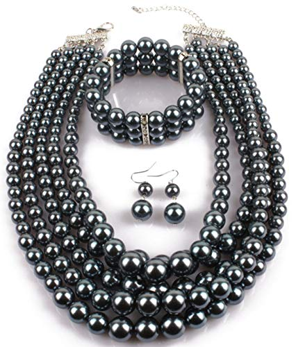 ltilayers Simulated Pearl Strand Cluster Collar Bib Choker Costume Jewelry Sets (Grey) ()