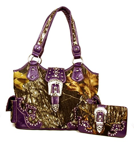 Large Western Concealed Carry Weapon Purse Camouflage Camo Belt Buckle Handbag Matching Wallet (Purple)