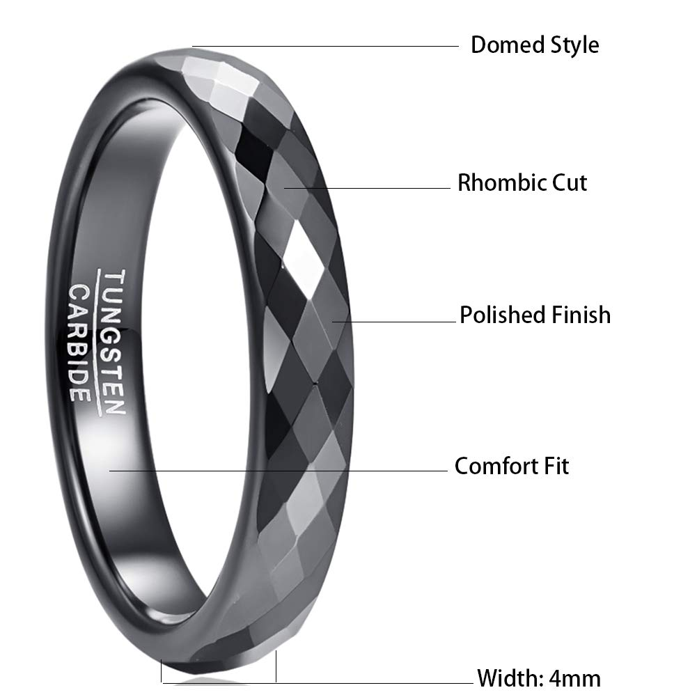 NUNCAD 4mm Classic Black//Rose Gold//Blue Tungsten Wedding Ring for Men Women Multifaceted Domed Style Comfort Fit Size L/½ to Z+1