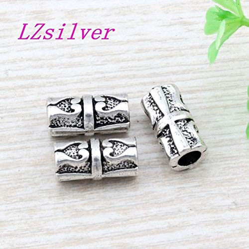 (Calvas 100Pcs Antique Silver Zinc Alloy Round Saucer Bicone Carving Spacer Bead Findings 7x14mm DIY Jewelry D21 - (Color: Antique Silver, Item Diameter:)