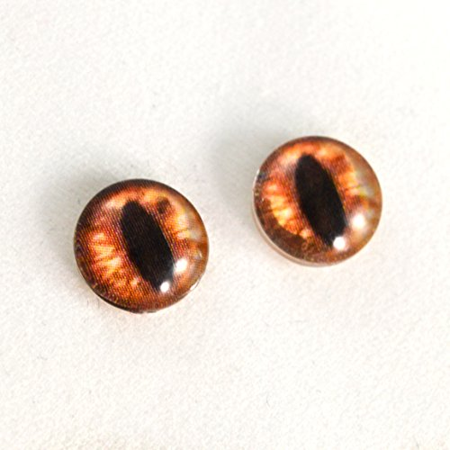 - 10mm Amber Cat or Dragon Glass Eyes Fantasy Cabochons for Art Doll Sculptures or Jewelry Making Set of 2