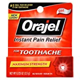 Orajel Instant Pain Relief for Toothache Gel, Maximum Strength 0.125 oz