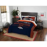 3 Piece NFL Broncos Comforter Full Queen Set, Blue Orange Multi Football Themed Bedding Sports Patterned, Team Logo Fan Merchandise Athletic Team Spirit Fan, Polyester, For Unisex