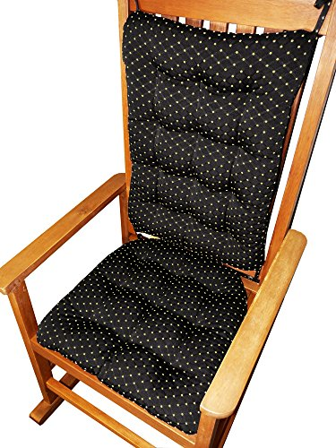 Rocking Chair Cushions - Tiffanie Onyx Black Brocade - Size Standard - Latex Foam Fill - Diamond Pattern