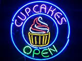 Desung New 24''x24'' Cup cakes Cupcakes Open Business Neon Sign (Multiple Sizes Available) Man Cave Signs Sports Bar Pub Beer Neon Lights Lamp Glass Neon Light DX137