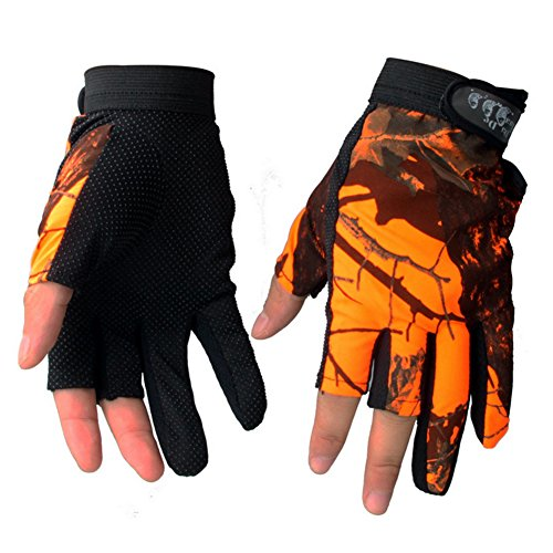 Isafish Fishing Hunting Gloves 3 Cut Finger Anti-slip Breathable Waterproof Gloves Outdoor...