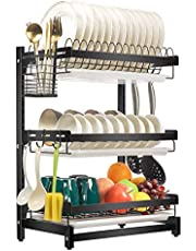 X-cosrack Dish Drying Rack 304 Stainless Steel Dish Rack with Drainboard Utensil Holder Hooks, Height-Adjustable Detachable Dish Drainer for Kitchen Countertop Black