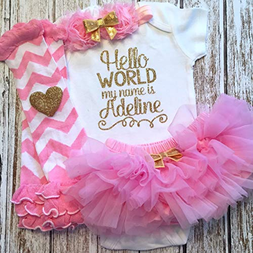 Take Home Outfit Baby Girl Outfit Personalized Name Pink and Gold Optional Tutu Bloomers Headband and Leg Warmers]()