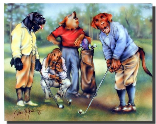 (Dogs Wall Decor Picture Playing Golf Sports Kids Room Art Print Poster (16x20))