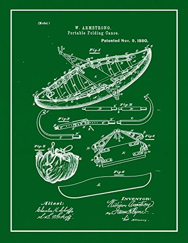 Portable Folding Canoe Patent Print Green with Border  M1398