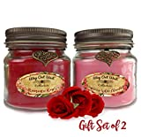 Romantic Gift -Scented Candles 2-Pack- Perfect Anniversary Gift for Her- Candles Scented with Fragrant, Long Lasting Romantic Rose and Raspberry White Chocolate -Soy Wax Blend (Red / Pink)
