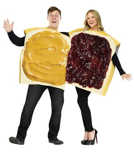 Couple Adult Costumes (FunWorld Peanut Butter And Jelly Set, Tan/Purple, One Size)