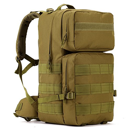 Tactical Assault Pack, WOTOW 55L MOLLE Backpack Military Gear RucksackCombat Backpack Water Resistant Sport OutdoorCamping Hiking Trekking Bag Black (Brown) Review
