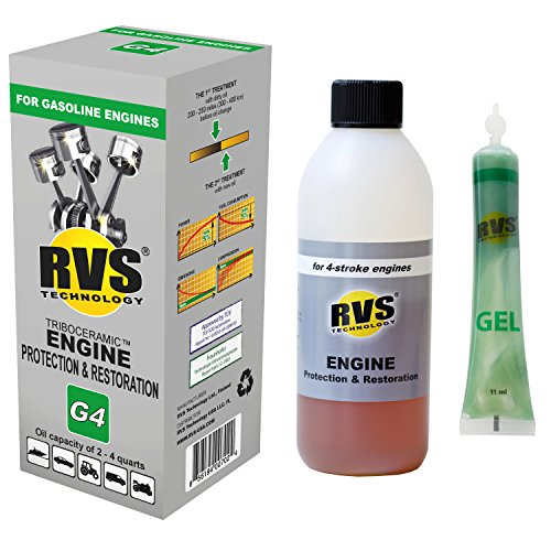 RVS Technology G4 Engine Treatment. for Gasoline Engines with an Oil Capacity up to 4 quarts. Restore and Protect Your Engine, Save Fuel, Increase Power. Safe for All Engines.
