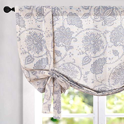Tie Up Curtains for Windows Linen Textured Adjustable Tie-up Shade for Kitchen Rod Pocket Medallion Design Rustic Jacobean Floral Printed Tie-up Valance (1 Panel 54 Inches Grey)