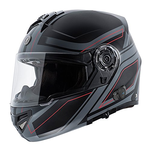 TORC T27B Full Face Modular Motorcycle Helmet Integrated Blinc Bluetooth With Graphic (Blade)
