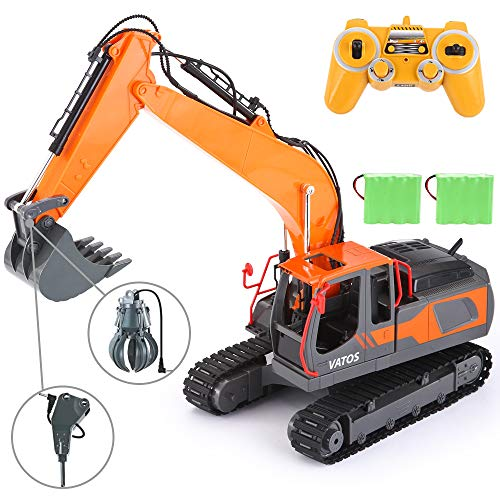 VATOS RC Excavator 17 Channel Construction Vehicle 1:16 Scale 3-in-1 Remote Control Truck 2 Rechargeable Battery Fully Functional with Lights & Sounds 680 ° Rotation Toy Crawler Best Gift Outdoor from VATOS