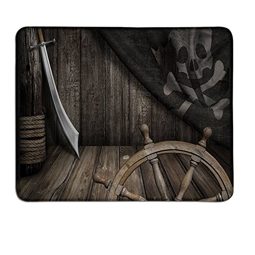 Ships Wheel extended mouse pad Steering Wheel with Old Jolly Roger Flag and Saber in Pirates Ship Control Room Artcustom mouse pad with photo Brown