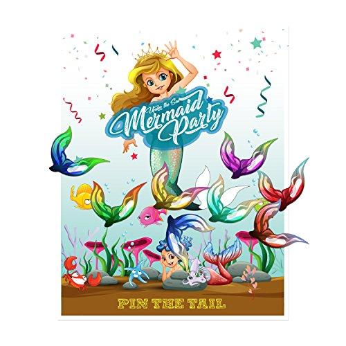 Pin the Tail on the Mermaid Party Favor Games Party Supplies,New, Extra Tails,Pin the Tail Games