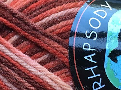 Dark Horse Yarns Rhapsody #160 Variegated Red Brown Coral Cream 100% Merino Wool Yarn 100g -  RH160