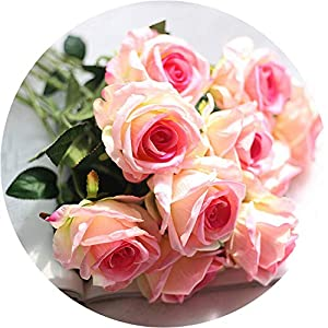 be-my-guest 10 Head Latex Rose Flowers for Wedding Party Home Design Bouquet Decor Multicolor Artificial Flowers Decor for Home 117