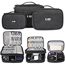 BUBM 3Pcs/Set Computer Cable Electronic Organizer Travel Packing Gadgets Bag Pouch for Cables,External Flash Drive,Mouse,Memory Card,Power Bank