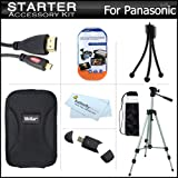 Starter Accessories Kit For The Panasonic DMC-FX90K Digital Camera Includes Deluxe Carrying Case + 50'' Tripod With Case + Micro HDMI Cable + USB 2.0 Card Reader + LCD Screen Protectors + Mini TableTop Tripod + MicroFiber Cleaning Cloth