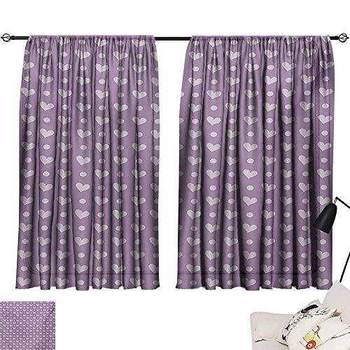 Davishouse Purple Thermal Curtains Love Valentines Day Couple Wedding Bride Inspiring Heart Icon Design Image Privacy Protection