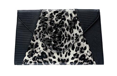 Clutch Faux Black Leopard Print Alligator Envelope xIO4qSpg