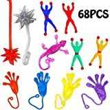 68PCS Sticky Stretchy Novelty Toys for Kids,Large Assorted Rubber Sticky Wall Climbers,Vinyl Sticky Hands,Hammers,Lizards for Party Favors,Gift Ideas