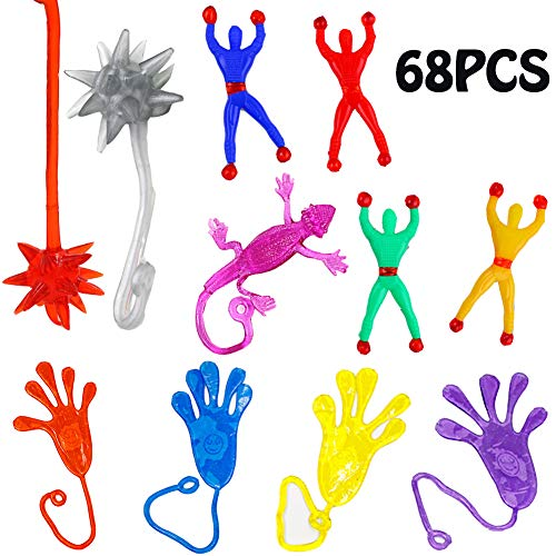 68PCS Sticky Stretchy Novelty Toys for Kids,Large Assorted Rubber Sticky Wall Climbers,Vinyl Sticky Hands,Hammers,Lizards for Party Favors,Gift Ideas -